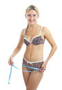 Caucasian woman years old measures hips blue meter tailor female hip measurement sexy young blonde in a leopard underwear smiling Stock Images
