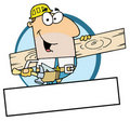 Caucasian worker man a wood plank Stock Photography
