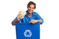 Caucasion male with recycle bin holding money isolated on white background horizontal shot Royalty Free Stock Image