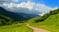 Caucasus road this is colorful landscape in mountains valley aksaut Royalty Free Stock Photos