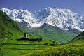 Caucasus Shkhara mountain seen from Ushguli village Royalty Free Stock Photo