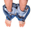Caught with pants down Royalty Free Stock Photo