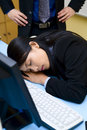 Caught up sleeping in office Stock Photos