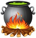 Cauldron with boiling green potion on wood fire Royalty Free Stock Photo