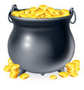 Cauldron full of gold coins illustration or a black pot Royalty Free Stock Photography