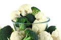 Cauliflower and broccoli in transparent bowl Royalty Free Stock Photos