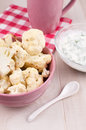 Cauliflower dinner with yogurt parsley sauce Royalty Free Stock Photos