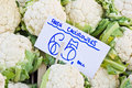 Cauliflower fresh cauliflowers for sale at a market Royalty Free Stock Photos