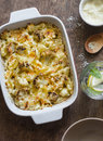 Cauliflower mac and cheese on the brown wooden table Royalty Free Stock Photo