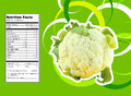 Cauliflower nutrition facts creative design for with label Stock Image