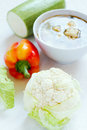 Cauliflower soup and fresh vegetables Stock Photography