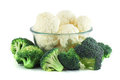 Cauliflower in transparent bowl and broccoli Royalty Free Stock Image