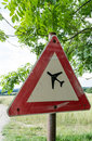 Caution airfield a traffic sign that indicates an Stock Image