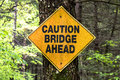 Caution bridge sign Royalty Free Stock Photo