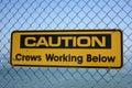 Caution crews working below Royalty Free Stock Photo