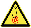 Caution email fraud symbol for the importance of protecting traffic and passwords Royalty Free Stock Photography