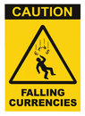 Caution Falling Currencies Objects Warning Sign Concept Isolated, black drop triangle over yellow, large macro, US Dollar, EU Euro Royalty Free Stock Photo