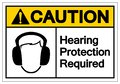 Caution Hearing Protection Required Symbol Sign, Vector Illustration, Isolate On White Background Label. EPS10