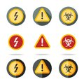 Caution icons set - high woltage, exclamation mark Royalty Free Stock Photo