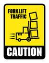Caution look out for forklifts label or sign color illustration Stock Photography