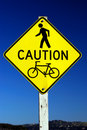Caution - Pedestrian and Bicycle Traffic sign Royalty Free Stock Photo