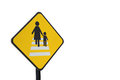 Caution people crossing traffic sign isolated Royalty Free Stock Photo