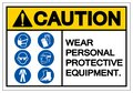 Caution Personal Protective Equipment Symbol Sign ,Vector Illustration, Isolate On White Background Label. EPS10