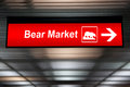 Caution Sign ,Bear Market Ahead. Red Color Royalty Free Stock Photo