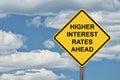 Caution Sign Blue Sky - Higher Interest Rates