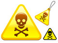 Caution sign with skull and bones Royalty Free Stock Image