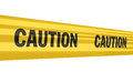 Caution sign tape strips isolated on white and clipping path Stock Image