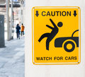 Caution sign watch for cars Royalty Free Stock Photos