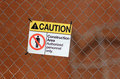 Caution sign yellow construction area Stock Image