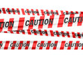 Caution signs d render tape strips on white and clipping path Royalty Free Stock Photos