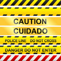 Caution signs and police tape - vector Royalty Free Stock Photo