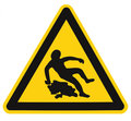 Caution Slippery When Wet Text Sign, Black Yellow Isolated Floor Surface Area Danger Warning Triangle Safety Icon Signage, Large Royalty Free Stock Photo