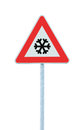 Caution, snow or ice road sign, isolated, slippery icy risky winter traffic ahead, snowfall risk warning signpost, black snowflake