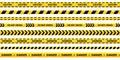 Caution tape set of yellow warning ribbons. Royalty Free Stock Photo
