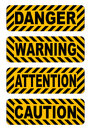 Caution, warning, attention, danger text stickers label vector illustration Royalty Free Stock Photo