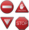 Caution warning stop signs red do not enter road Stock Photo
