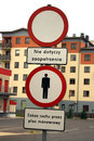 Cautionary signs and prohibition in city Stock Photo