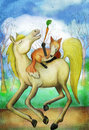 image photo : Horse and fox with carrot