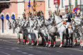 Cavalry Regiment and Lusitano horses, Lisbon Royalty Free Stock Photo