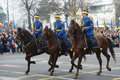 Cavalry troops are seen during the romanian national day parade in bucgarest the capital of romania on december the st Royalty Free Stock Photography
