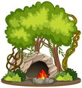 Cave with fire pit nature scene Royalty Free Stock Photo