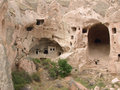 Cave-houses in rose tuff formations (Cappadocia) Royalty Free Stock Photos