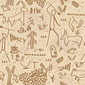 Cave petroglyphs seamless texture with Stock Image