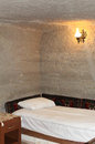 Cave room in cappadocia turkey hotel typical for capadocia area Royalty Free Stock Photo