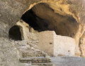 A cave scene at the gila cliff dwellings in rock face national monument new mexico Stock Photography