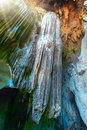 Cave stalactites and stalagmites colorful in thailand Stock Photo